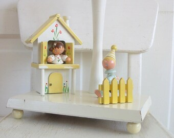 Vintage Nursery Lamp, Yellow Baby Lamp, Wood Irmis Lamp, Girl Nursery Lamp, Yellow Nursery Lamp, Unisex Nursery Lamp, Vintage Irmis Lamp