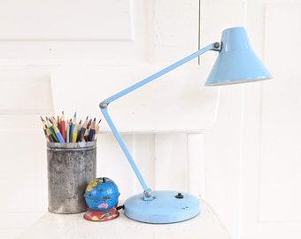 Mid Century Desk Lamp, Vintage Blue Desk Lamp, Office Lamp, Vintage Light Blue Metal Lamp, Metal Goose Neck Lamp, Child Desk Lamp