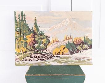Vintage Landscape Paint By Number, Vintage Landscape Painting, Vintage PBN, Vintage Mountain Painting, Paint By Number Landscape, Trees