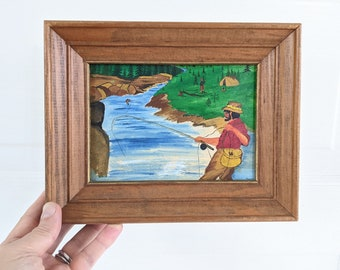 Vintage Fly Fishing Painting, Vintage Fishing Painting, Vintage Camping Painting, Vintage Painting for a Cabin, Vintage Stream Painting