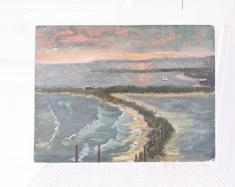Vintage Seascape Painting, Vintage Ocean Painting, Vintage Seaside Painting, Nautical Painting, Vintage Bay Painting, Sailboat Painting