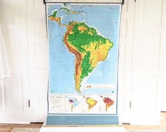 Vintage Pull Down Map of South America, Vintage School Map, Retractable Map, Large Brazil Map, Vintage Classroom Map, Argentina Peru Map
