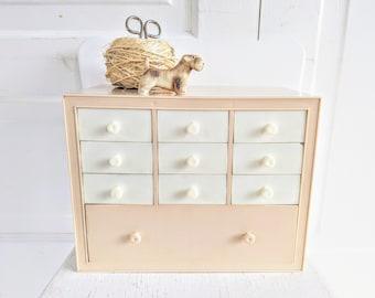 Vintage Plastic Drawers, Organizer Plastic Box, Vintage Sewing Storage, Vintage Plastic Case, Case of Drawers, Pink White Drawers, Supply
