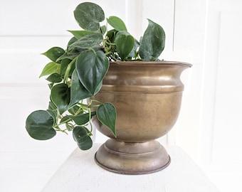 Large Vintage Copper Pot, Large Brass Pot, Vintage Copper Planter, Indoor Planter, Large Brass Container, Copper Pedestal Pot, Copper