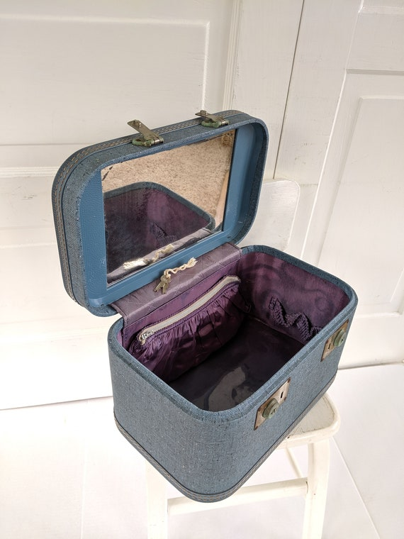Vintage Blue Train Case, Tweed Train Case, Blue S… - image 4