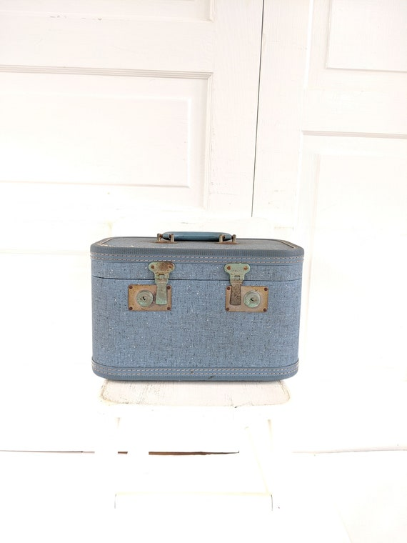Vintage Blue Train Case, Tweed Train Case, Blue S… - image 1