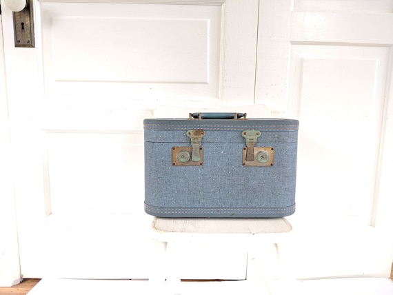 Vintage Blue Train Case, Tweed Train Case, Blue S… - image 10