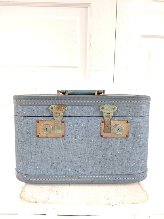 Vintage Blue Train Case, Tweed Train Case, Blue S… - image 3