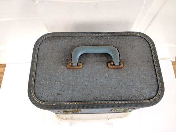 Vintage Blue Train Case, Tweed Train Case, Blue S… - image 7