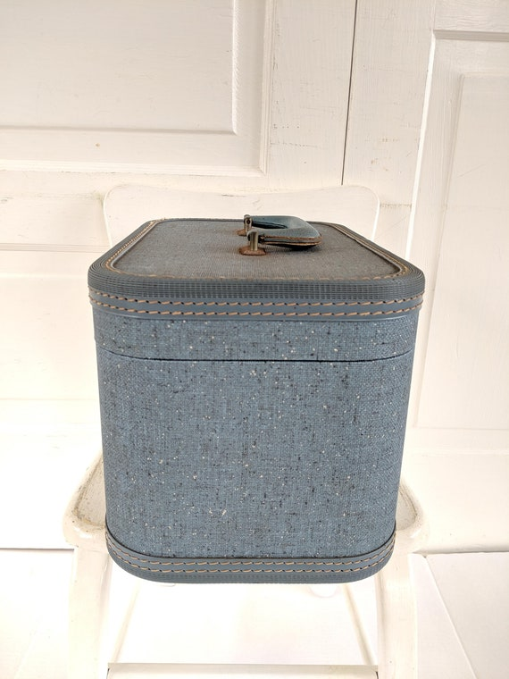 Vintage Blue Train Case, Tweed Train Case, Blue S… - image 8