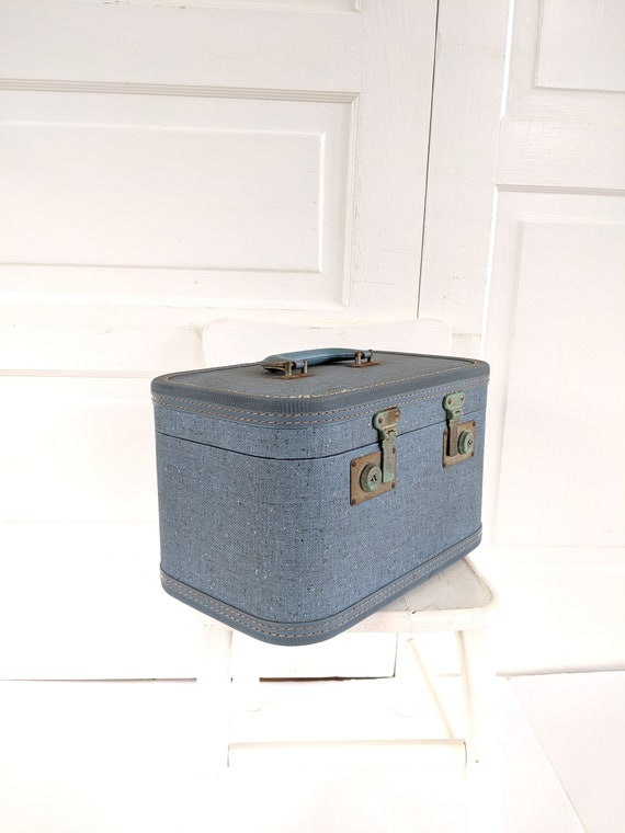Vintage Blue Train Case, Tweed Train Case, Blue S… - image 2
