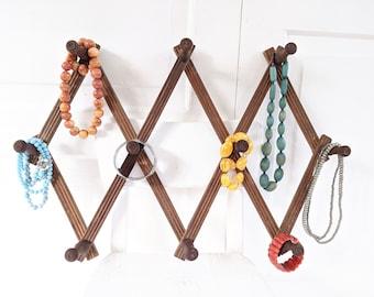 Vintage Wood Accordion Rack, Clothes Hanger, Jewelry Organizer, Hat Rack, Vintage Wood Rack, Wood Jewelry Rack, Vintage Wood Display