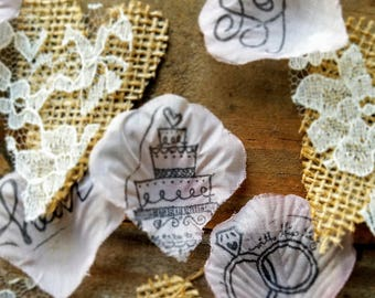 Rustic Bridal Shower Decorations and Supplies Centerpiece ideas Engagement Party Wedding Confetti Rose Petals Burlap Table Runner with Lace