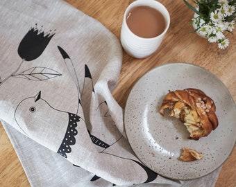 Linen Tea Towel - Screenprinted Peaceful Bird SALE! 50% off!