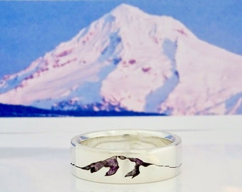 Mount Hood Summit Ring, 6mm Band, Mt Hood, Custom Gemstone Inlay Ring, Handmade Mountain Summit Band with Recycled Precious Metal