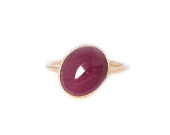 Ruby Ring Stacker, Handmade with Recycled 14k Yellow or White Gold, Petite Ruby Gemstone Ring, July Birthstone Ring