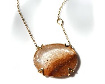 Rutilated Quartz Necklace, Quartz Pendant in 14k Yellow Gold, Quartz Gemstone Pendant, Ready to Ship Necklace, Holiday Gift Ideas
