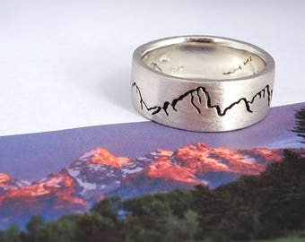 Teton Landscape Mountain Ring, 8mm band, Mountain Wedding band, Handmade Mountain Ring, Recycled Silver, Gold or Platinum, Wedding Rings