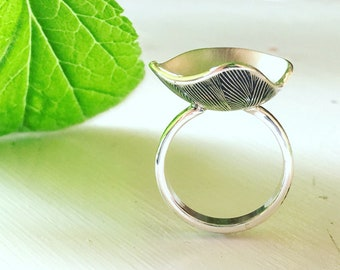 Lotus Blossom Ring hand forged handmade one of a kind silver botanical ring