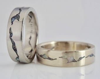 Glacier Mountain Ring Set, 6mm Bands, Handmade w Sterling Silver, Palladium, 14k or 18k Yellow or White Gold, Platinum, Wedding Bands Rings