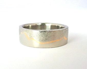 Gold Inlay Platinum Mountain Ring, Wedding Mountain Band, Custom Gold Inlay Band, Mens Gold Inlay Wedding Band, Womens Platinum Wedding Band