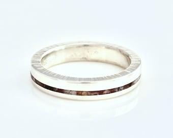Inlay Wedding Band, Stone Inlay Wedding Band, Custom Gemstone Inlay Ring