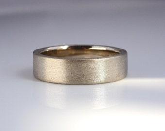 Traditional Wedding Band, Silk Textured Band, Alternative Travel Wedding Rings