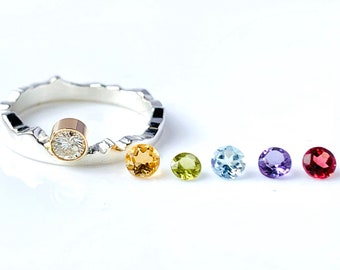 Solitaire Mountain Stacker Ring, Birthstone Stacker Mountain Band, Mountain Band, Womens Petite Gemstone Ring