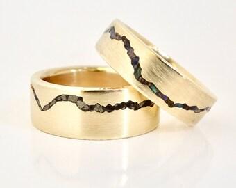 Gemstone Inlay Mountain Wedding Ring Set, 6mm & 8mm Matching Bands, Matching Anniversary Rings, Alternative Wedding Band Set