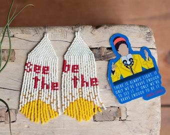 Amanda Gorman Earrings, The Hill We Climb Earrings, See it, Be It Earrings, Handwoven Earrings, Long Dangle Earrings
