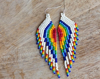 Rainbow Earrings, Asymmetrical Handwoven Seed Bead Earrings