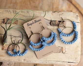 Sky Blue Fiber and Metal Earrings, Hoop Earrings, Blue Hoop Earrings, Boho Earrings, Hypoallergenic, Macrame Earrings