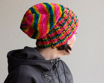 Slouchy Knit Hat, Rainbow Knitted Hat, Slouchy Beanie, Colorful Knitted Hat, Warm Winter Hat, Gender Neutral Hat, Hand Knitted Hat
