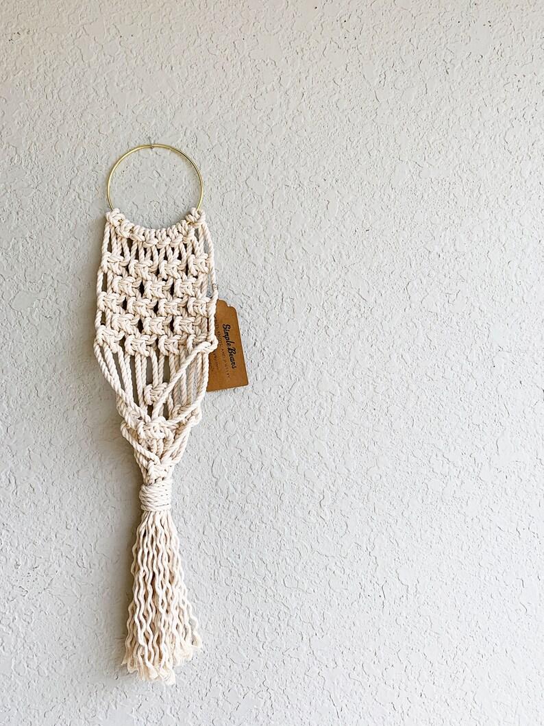 Hoop Macrame Hoop Plant Hanger Small Wall Plant Hanger Eclectic Home Decor Macrame Wall Hanging Plant Hanger or Holder Natural Cotton