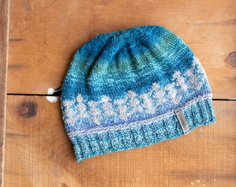 Blue and Grey Knitted Hat, Beanie, Ombre Knitted Hat, Warm Winter Hat, Women Beanie, Hand Knitted Hat