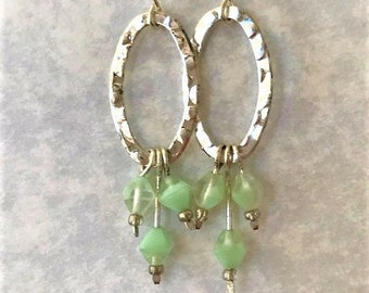 Light Green and Silver Earrings,  Mint Green and Hammered Oval Earrings, Seafoam Green and Silver Earrings