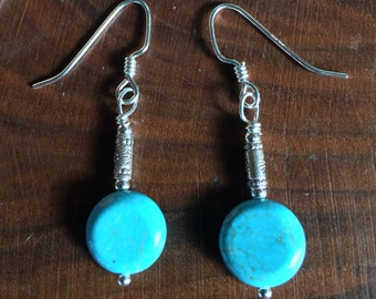 ab7746183 Sterling Earrings with Turquoise Moons and Thai Silver tubes Sundance  Catalog Style