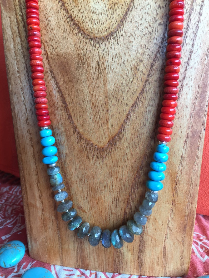 Turquoise and Red Coral Cynthia Moon Artisans Santo Domingo Sundance Style Necklace .925 Sterling Toggle Blue Flash Labradorites