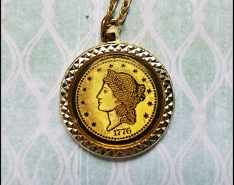 Vintage Gold Tone Faux Twenty Dollar Coin Necklace