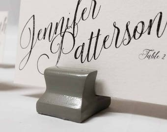 Cute Curves Weighted Place Card Holder -  Light Grey (Sample Quantities)