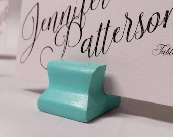 Cute Curves Weighted Place Card Holder - Aloha Teal (Sample Quantities)