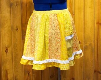 sunshine yellows knee-length patchwork festival skirt - large / x-large