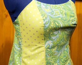 blue/lime backless summer festival top