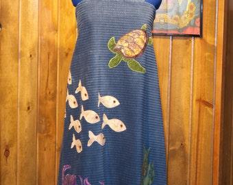 aquatic corduroy handmade a-line festival dress - large