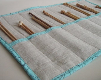 Linen Knitting Needle Case with Turquoise Trim - Fun Looping Thread Pattern - Gift for Knitter
