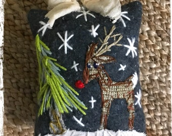Reindeer with Tree Embroidered Mixed Media Ornament Pillow Ready to Ship YelliKelli