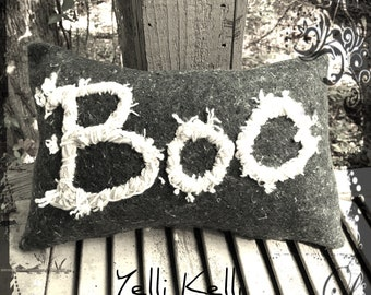 Boo Funky Rustic Halloween Pillow Hand Embroidered on Strange Reclaimed Industrial Felt Ready to Ship YelliKelli