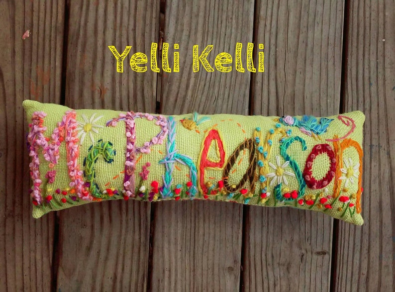 Freehand Embroidered Bohemian TEN Letters Name Pillow Custom Made YelliKelli