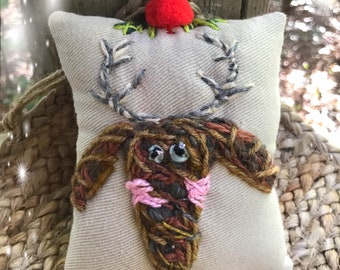 Reindeer Face Embroidered Ornament Pillow Ready to Ship YelliKelli