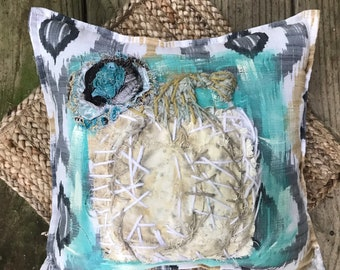 Rustic  Pumpkin Pillow Hand Embroidered Applique Ready to Ship YelliKelli
